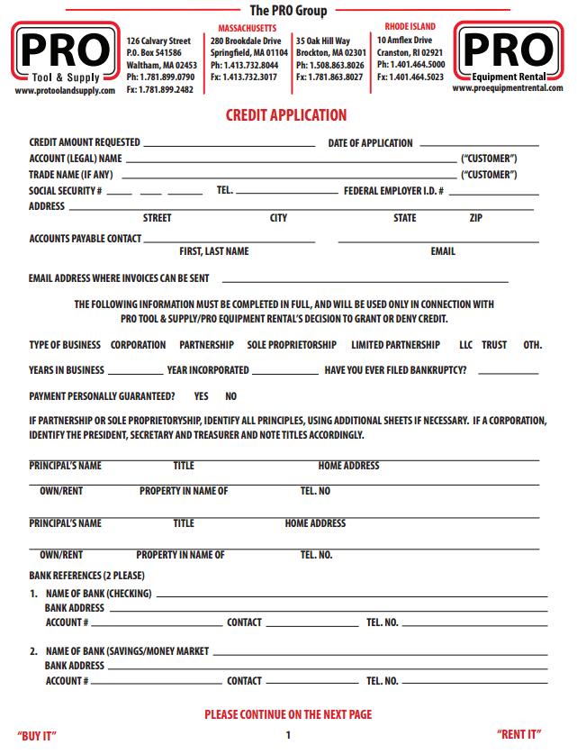 customer credit application
